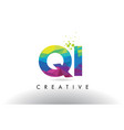 qi q i colorful letter origami triangles design vector image vector image