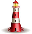 Red lighthouse isolated on white background vector image vector image