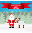 Santa and sheep in the Christmas forest vector image