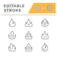 set editable stroke line icons fire vector image vector image
