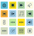 set of 16 music icons includes song ui following vector image vector image
