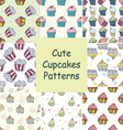Set of hand drawn seamless patterns with cupcakes vector image vector image