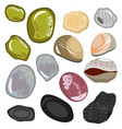 set of stones from the sea coast smooth water vector image vector image