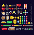 set pixel game art icons vector image