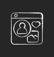 social networks chalk white icon on dark vector image