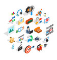 team leader icons set isometric style vector image vector image