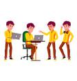 teen boy poses set funny friendship vector image