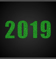 the number 2019 green sequins new year sign vector image