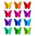twelve colored paper butterflies with shadow vector image