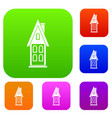 two storey house with attic set collection vector image vector image