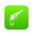 vintage revolver icon digital green vector image