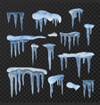winter icicles blue icy frozen decoration set vector image vector image