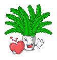 with heart cartoon natural green fern in the vector image