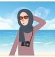 woman wear hijab and glasses casual in beach while vector image