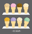 ice cream cone scoop cartoon vector image