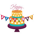 happy birthday cake decorative dots garland vector image