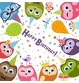 Birthday card with cute owls vector image