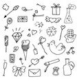 set of valentine icons in doodle style vector image