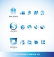 Logo design elements icon set blue vector image