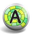 Alphabet A on round badge vector image
