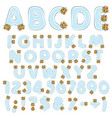 alphabet letters numbers and symbols from vials vector image vector image