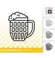 beer mug simple black line icon vector image vector image