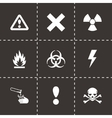 Black danger icon set