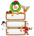 blank wooden sign with merry christmas font logo vector image