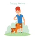 Boy and dog friends vector image vector image