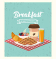 breakfast with blackberries and strawberries fruit vector image vector image