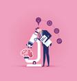 businessman analysis brain with microscope vector image
