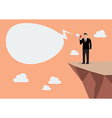 Businessman with a megaphone on the cliff vector image vector image