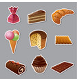 cakes and sweets stickers vector image vector image
