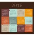 Calendar for 2016 Week Starts Sunday vector image