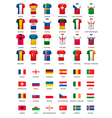 Collection of various soccer jerseys and flags of vector image vector image