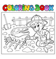 coloring book dinosaur excavator vector image