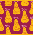 creative yellow pears seamless pattern in doodle vector image vector image