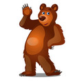 cute brown bear waving his paw isolated on white vector image vector image
