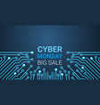 cyber monday big sale poster over circuit vector image
