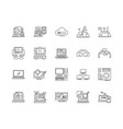 digital work line icons signs set vector image vector image
