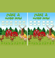 farm math game template with horses and farm vector image vector image