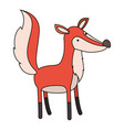 fox cartoon colorful silhouette in white vector image