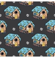 Gingerbread houses and homes seamless pattern for vector image vector image