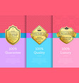 golden labels with crown 100 quality premium set vector image vector image