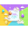 happy easter sale card decorated eggs hanging on vector image vector image