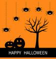 happy halloween card black tree silhouette vector image vector image