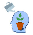 head with a plant inside selfdevelopment vector image