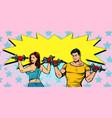 healthy lifestyle fitness man and woman with vector image