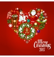 Heart created of Christmas and New Year icons vector image vector image