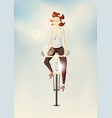 hipster girl riding a bike on blurry background vector image